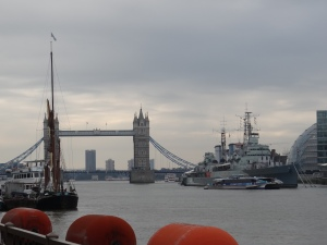 Tower Bridge with the HMS Belfast on the right