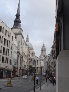 Looking up the street to St. Pauls Cathedral