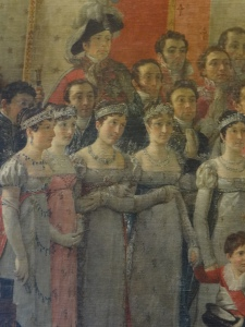 This is a close up of that last painting and in the second one hanging in Versailles he made this one girls dress pink because they were seeing each other.