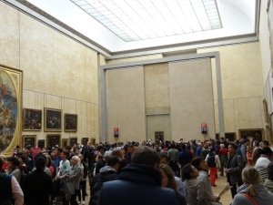The crowd in front of the Monna Lisa.  They would stay if front forever and take pictures of each other!