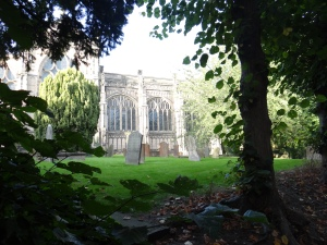 Cemetery next to St. Mary's.  I wanted to go in - it is a magnificent 15th century Beauchamp Chapel but a boy's choir was preparing for a concert and the door was locked.  :(