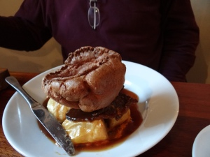 Dinner at the Rose and Crown - roast beef and Yorkshire pudding.