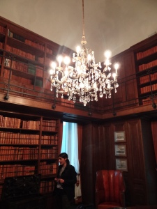 Murano glass chandelier inside villa library/study