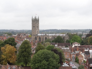 Looking at St. Mary's church from Warwick Castle