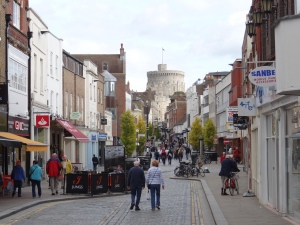 Windsor village street with castle in the background