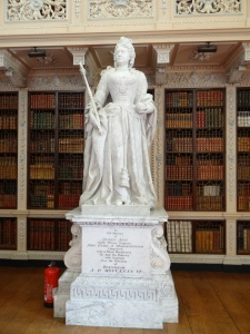 A statue of Queen Anne who was good friends of the first Duchess - in and out of favor over the years.  This is in the huge library