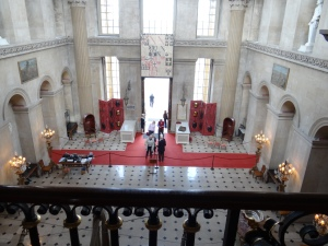 Looking down to the entry hall