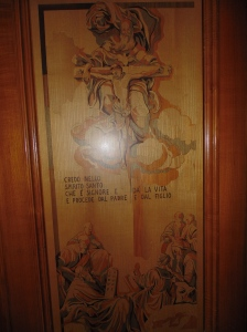 Inlaid wood door at the cathedral made in the 1980's for the Pope's visit