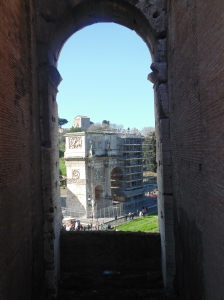 Looking out from the Colosseum to Constantine's Arch