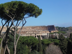 Looking back at the Colosseum from the Palatine Hill
