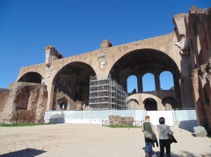 Basilica of Constantine - A.D. 312.  Huge building and only one-third of the original still standing.