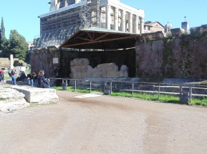 Temple of Julius Caesar - he was burned on this spot - under that metal roof