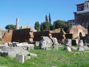 The outside ruins of Basilica Aemilia
