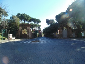 The beginning of the Appian Way from the San Sebastiano gate/wall