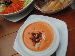 Cold tomato soup tapas